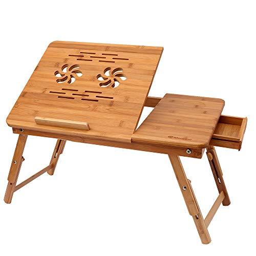 Himimi Bambus Laptoptisch Notebooktisch klappbarer Lapdesk mit Schublade, höhenverstellbar Faltbare Betttisch für Lesen oder Frühstücks, Zeichentisch und Esstisch für Bett 55 x (22.8-31) x 35 cm