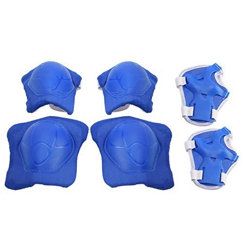 Alomejor Juego de Almohadillas Protectoras para niños, Rodilleras para niños con Protectores de muñeca para Patinaje sobre Ruedas, Bicicleta, Deporte(Azul)