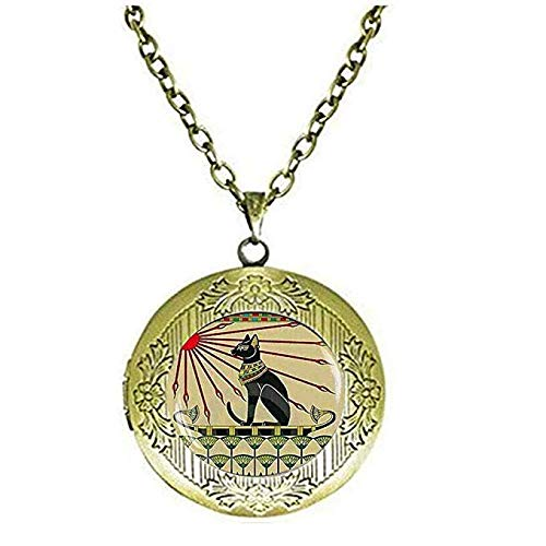 Joyas egipcias para gatos, joyería Art Nouveau, collar con medallón de diosa Bastet, joyería de gato egipcio.