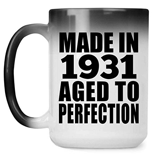 89th Birthday Made In 1931 Aged to Perfection - 15 Oz Color Changing Mug Farbwechsel-Becher 443ml Thermosensitiv Tasse - Geschenk zum Geburtstag Jahrestag Weihnachten Valentinstag