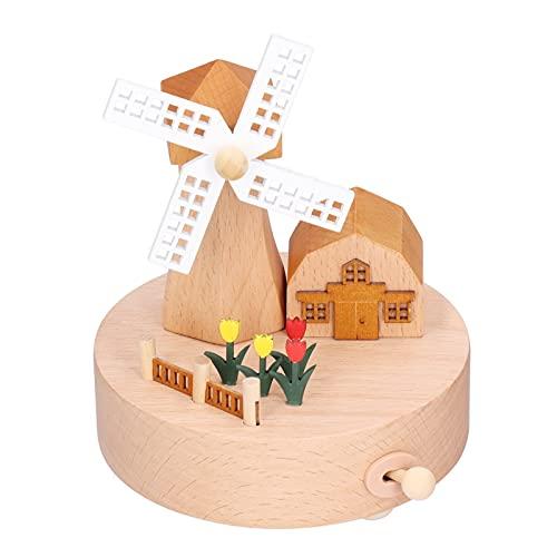 Caja De Música De Molino De Viento, Exquisita Caja De Música De Madera Con Diseño De Molino De Viento Y Castillo Para Decoración Del Hogar, Regalos De Cumpleaños Para La Mayoría De Las