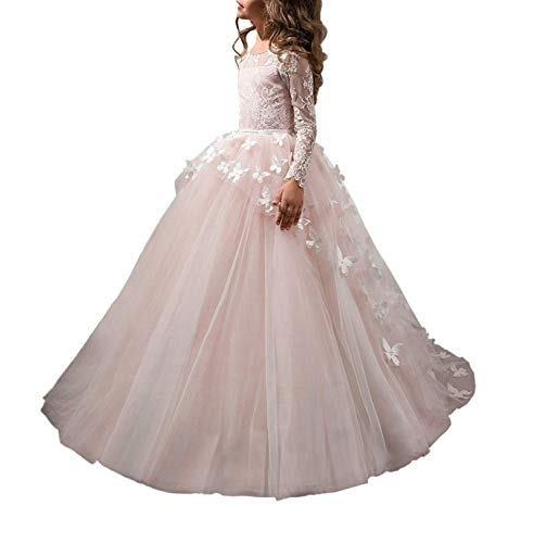 Abaowedding Lovely Flower Girl Dress Lace Long Sleeves Prom Gown Pink,Size 6