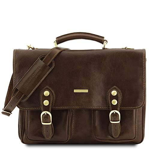 Tuscany Leather - Modena- Portafolios en Piel con 2 Compartimentos Marrón Oscuro - TL141134/5