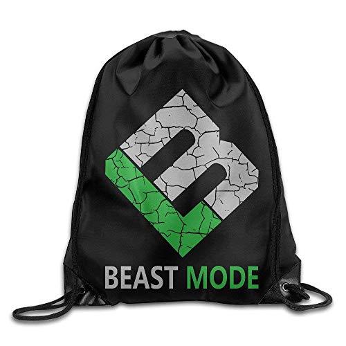 wusond Creative Design Marshawn Lynch #24 Football Beast Mode Logo Drawstring Backpack Sport Bag for Men and Women
