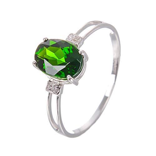 Beydodo Ringe 750Er Weißgold, Hochzeit Ringe Damen Solitärring mit Oval Diopsid Verlobungsring für Frauen Gr.61 (19.4)