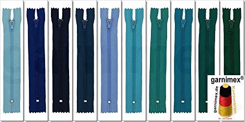 garnimex Reißverschluss 30 cm - Nicht teilbar - Sortiert 10 STK. in 10 Farben (021-030)