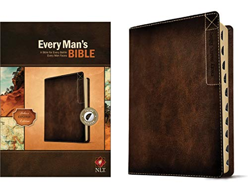Every Man's Bible: New Living Translation, Deluxe Explorer Edition (LeatherLike, Brown, Indexed) – Study Bible for Men with Study Notes, Book Introductions, and 44 Charts