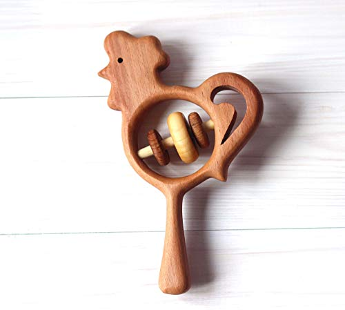 Wooden rooster, Baby rattle, Rattle the...