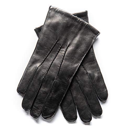 EEM heren leren handschoenen WILLIAM van lamsnappaleder met drie naden op de bovenhand, elegant, tijdloos, klassiek, zwart, XL