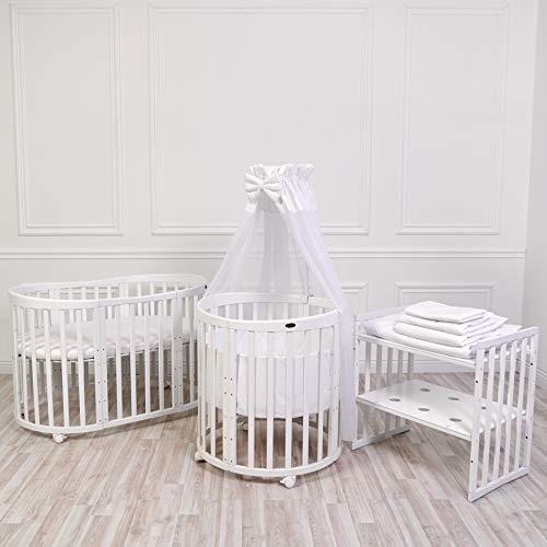 ComfortBaby SmartGrow 7 in 1 Komplett 12-teilig Babyausstattung Set Weiß, Kinderbett, Laufgitter, Beistellbett, Bettwäsche Set, Matratze, Wickeltisch, Stühle und Kindertisch
