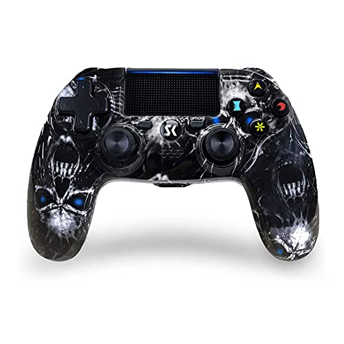 Controller for PS4 Joystick Controller di Gioco Wireless Bluetooth Controller di Gioco a Doppia Vibrazione Touchpad Joystick per PlayStation 4 (Blue Skull)