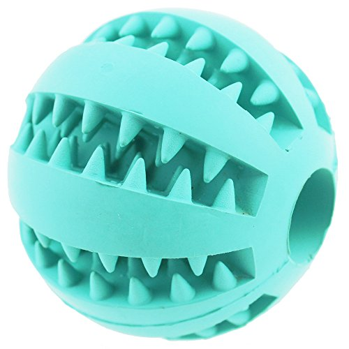 Aduck Durable Dog Ball Toys for Aggressive Chewers Teething Cleaning (Dental Treat) (Bite Resistant) Natural Soft Bouncy Rubber Ball Toys for Pet IQ Training Playing and Chewing -2.8 Inch (Mint Green)