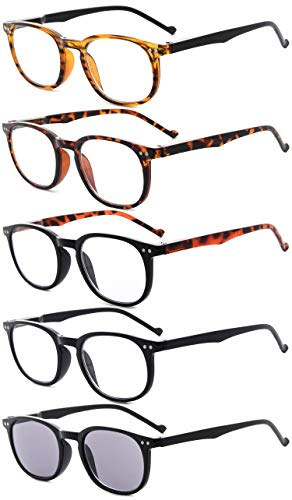 Eyekepper 5-Pack Spring Hinges80's Reading Glasses Includes Sunshine...