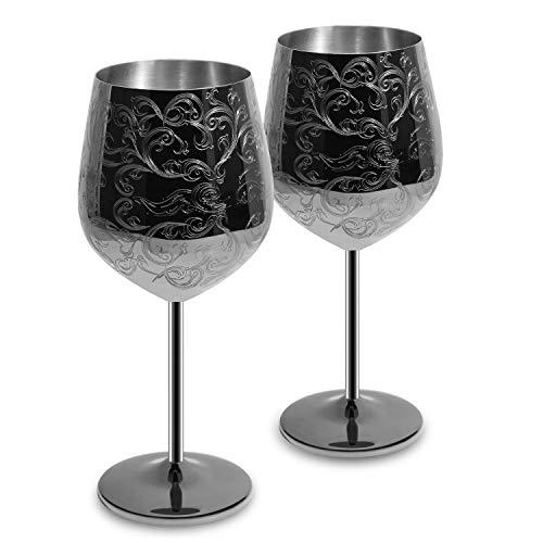 Bicchieri da Vino SKYFISH in Acciaio Inossidabile con placcatura Nera, incisi con Intricate e autentiche incisioni barocche, calici da Vino in Stile Reale, Set di 2 (17oz)
