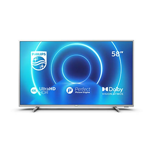 Philips 58PUS7555/12 Televisor 4K UHD de 146 cm (58 pulgadas) (4K UHD, P5 Perfect Picture Engine, Dolby Vision, Dolby Atmos, HDR 10+, Saphi Smart TV, HDMI, USB), Color plata (modelo de 2020/2021)