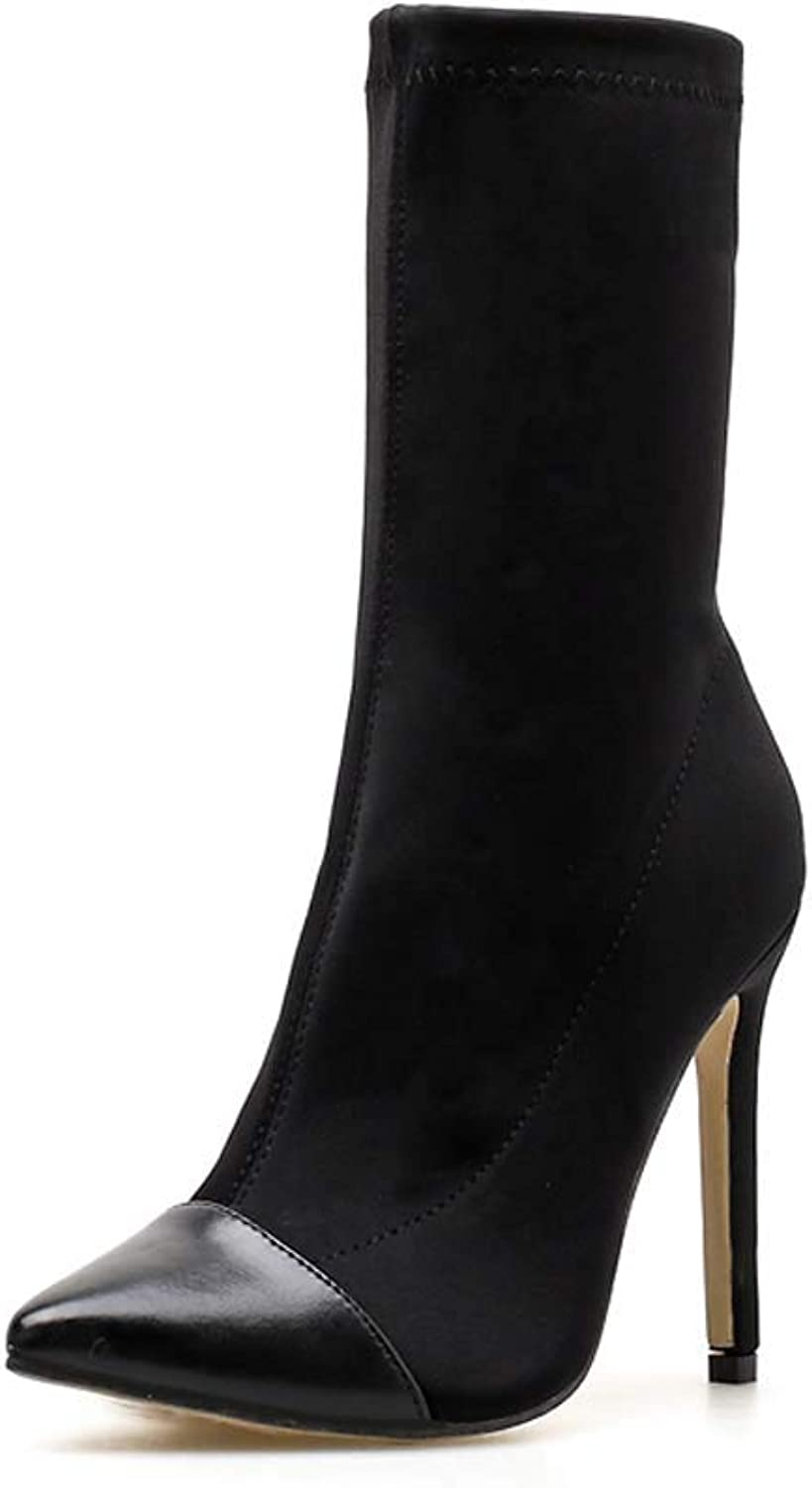 Womens Stretch High Stiletto Heel Ladies Pointed Toe Ankle Boots shoes Party Classic Boots Half Length
