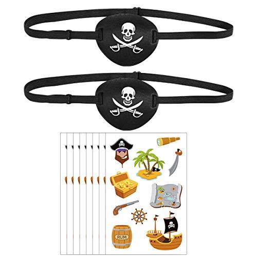 ABOOFAN 8 Hojas de Pegatinas de Tatuajes con Tema Pirata con 2 Piezas de Parches en Los Ojos Pegatina Decorativa Temporal para Niños Suministros de Fiesta de Cumpleaños de