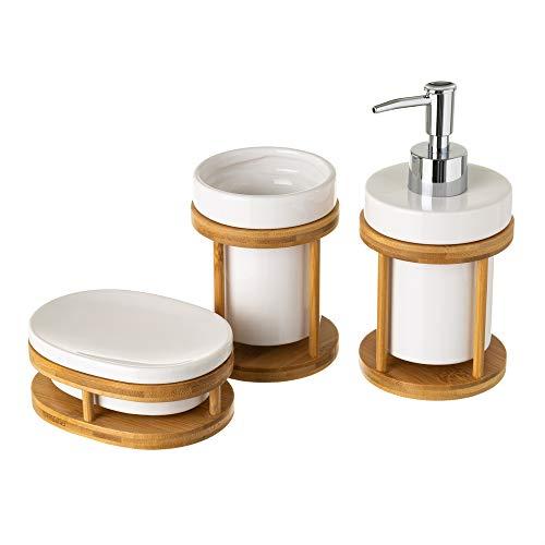 Conjunto de dispensador, jabonera y portacepillos de cerámica y bambú nórdico Blanco - LOLAhome