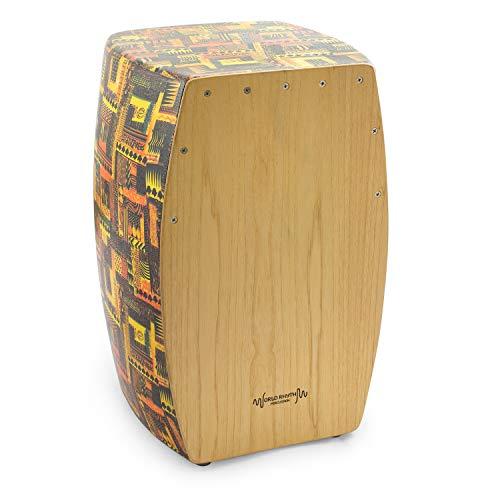 World Rhythm CAJ3 Cajón, Tambor de Caja de Cajón de Tamaño Completo con Superficie de Juego de Madera Natural y Trampas, Ajustables