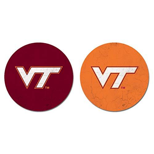 NCAA Legacy Virginia Tech Hokies Thirsty Car Coaster 2-Pack, One Size, Sandstone