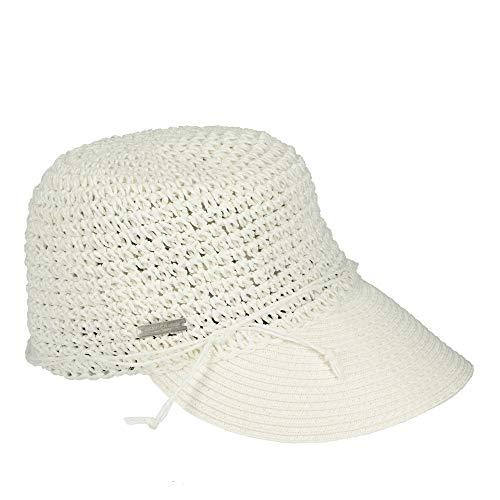 Seeberger 053719-00000 modischer Damen Hut ideal für den Sommer aus Papierstroh, Groesse OneSize, weiß