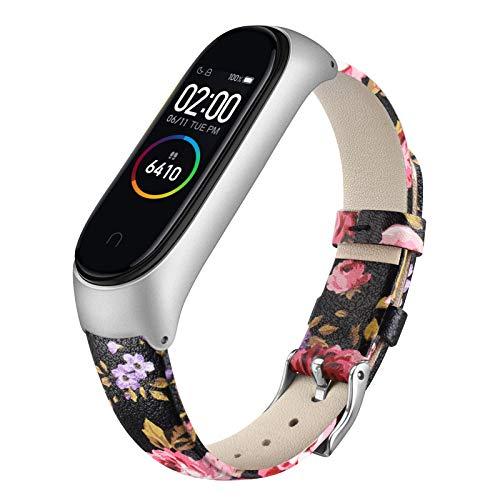 Oumida Bracelet Compatible pour Xiaomi Mi Band 4/ Mi Band 3 Bracelet en Cuir véritable pour Mi Band 4/ Mi Band 3, Bracelet avec Hommes et Femmes (05Fleur Rose)
