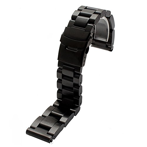 Heavy Strap 22 24 26mm Thick 6mm Brushed Solid Stainless Steel Watch Bands Double Locking Clasp Mens