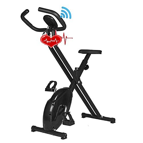 Bicicleta estática X-Bike para el hogar con asiento ajustable en altura, asiento plegable para el hogar con medición de frecuencia cardíaca, entrenador de piernas, entrenador de bicicleta