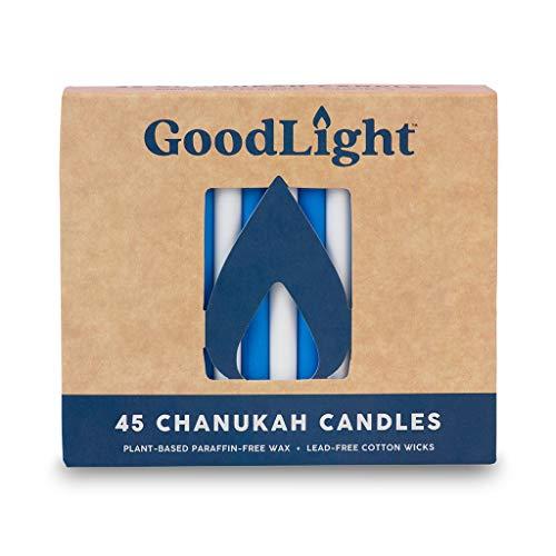 GoodLight Paraffin-Free Chanukah Hanukkah Candles, Blue & White