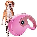 Edipets, Correa Perro Extensible / Retráctil, 3, 5 y 8 Metros, Cinta Flexible para Adiestramiento y Paseo, para Perros Pequeños, Medianos y Grandes (Rosa, 3 Metros)
