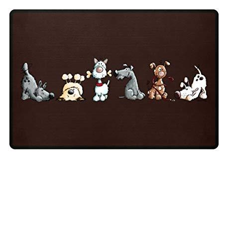 Shirtee Lustiges Happy Hunde Hundemotiv für Hundehalter und Hundefreunde I Hunde Design Geschenk - Fußmatte -60x40cm-Brown