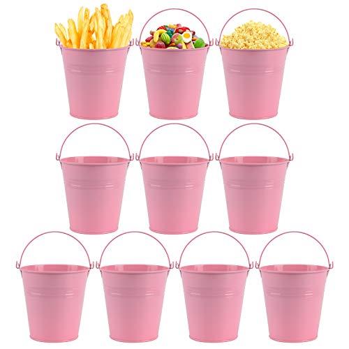 10 mini cubos de metal para maceta, dulces, fiestas, bodas, decoración de jardín, decoración de mesa (rosa)