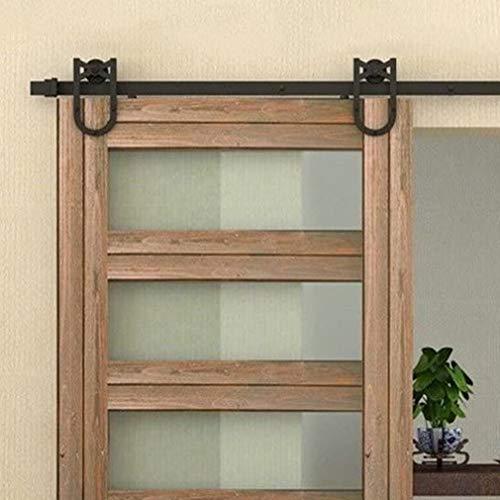 Schiebetürbeschlag set Schiebetürsystem Schiebetür Montageset inklusive Laufschiene,für Glas- oder Holztüre (Schwarz,183cm/6ft,Hufeisen,Einzeltür)