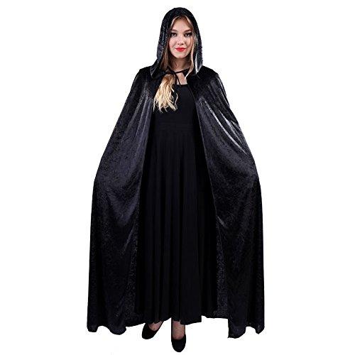 JZK Heren dames zwart lang mantel met kap fluwelen cape met capuchon gewaad Halloween kostuum voor feest heks duivel vampier kostuum