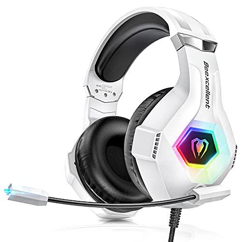 Gaming Headset für PS4 PC PS5 Xbox One, RGB LED Licht Crystal 3D Gaming Surround Sound Professional Kopfhörer mit Mikrofon für Laptop Mac Nintendo Switch