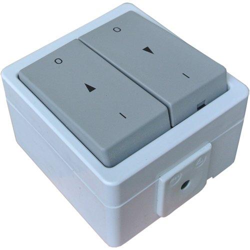 Jalousieschalter Rolladentaster Doppelwippe IP44 mit Rastfunktion Feuchtraum spritzwassergeschützt Aufputz System: Stera