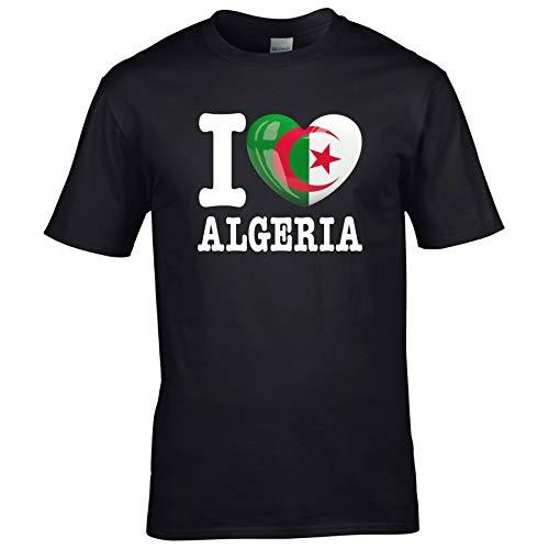 FanShirts4u Kinder T-Shirt - I Love ALGERIEN/Algeria - WM Trikot Liebe Herz Heart (7/8 Jahre 122-128 cm, I Love Algeria - Schwarz)