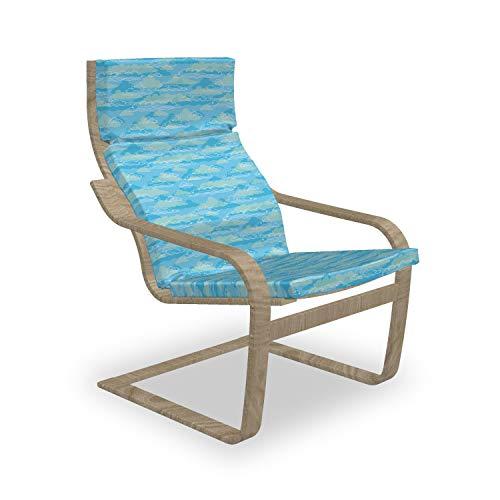 ABAKUHAUS Wolke Poäng Sessel Polster, Umreißen Cumulus Spring Season, Sitzkissen mit Stuhlkissen mit Hakenschlaufe und Reißverschluss, Blau Hellblau Weiß