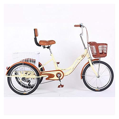 SN Triciclo para Adultos 1 Velocidad 20 Pulgadas Trike 3 Ruedas con Cesta Bicicleta para Mujeres Hombres para Compras O Bolsa A Prueba Polvo para Perros (Color : Beige, Size : with backrest)