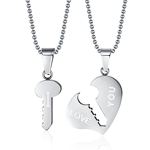 VNOX Stainless Steel I Love You Key to Heart Lover Valentine Couple Pendant Necklace,
