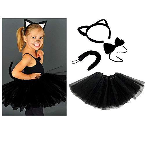 Unbekannt Schwarze Katze Kinder oder Damen Kostüm - Black CAT Costume Set - vertrieb durch ABAV (Komplett Set Mädchen)