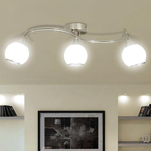 Zora Walter – Lámpara de Techo con Pantallas de Cristal en riel Curvado 3 × E14 lámparas de salón