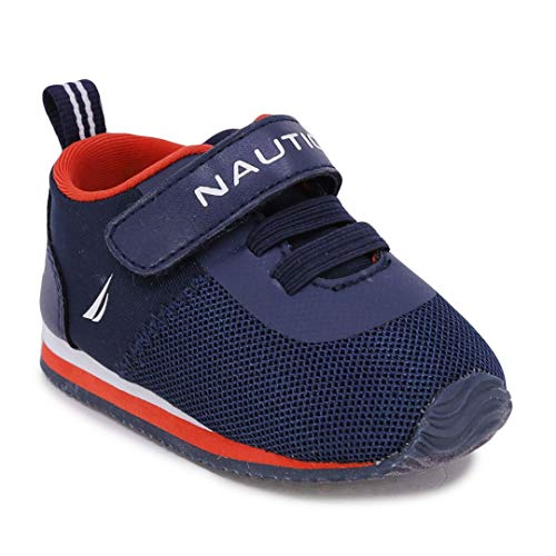 Nautica Infant Baby Shoe with Strap - Prewalker Crib Sneakers - Soft Sole Shoes for Newborn's First Walkers-Tiny Pacifity-Navy Orange-3