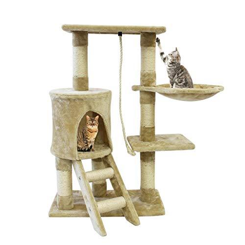 Todeco Árbol para Gatos, Escalador para Gatos - Material: MDF - Tamaño de la casa de gato: 30,0 x 33,0 x 33,0 cm - 90 cm, 4 plataformas, Beige