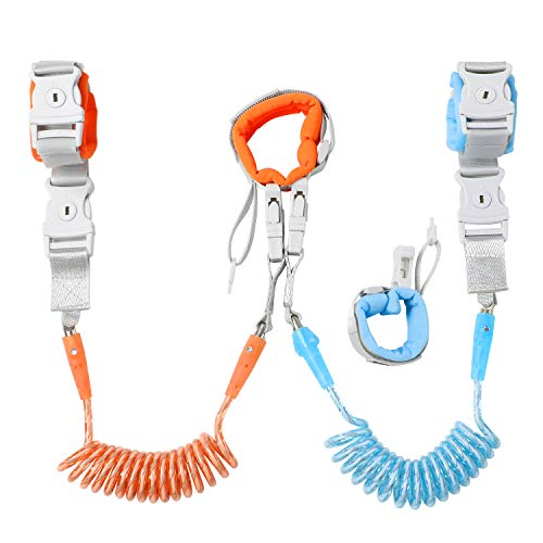 [Upgrade] Anti Lost Wrist Link, Dr. meter 2 in 1 Toddlers Safety Wristband Leash with Key & Lock, Kids Anti Lost Walking Harness Rope for Babies, Dual Length 6.56ft