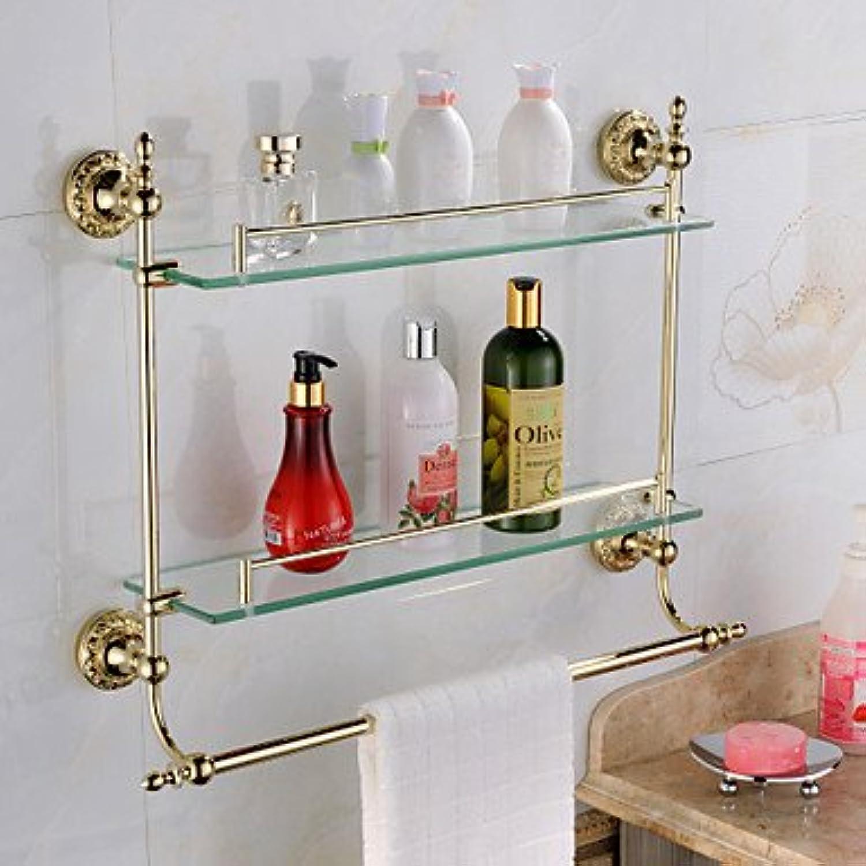 LI Bathroom Shelves,TI- PVD Finish Stainless Steel Material Double-Deck Glass Shelves