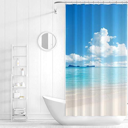Vlejoy Home Blauer Himmel Und Weiße Wolke Gedruckt Duschvorhang Wasserdicht Und Schimmel Badezimmer Trennwände Ohne Stanzen-180 * 200cm