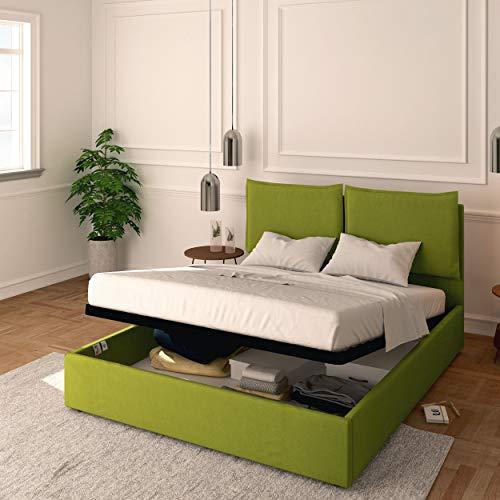 Baldiflex Cama individual con contenedor modelo Licia de tela, somier de láminas, para colchones individuales de 90 x 200 cm, cabecero de lujo acolchado, color verde
