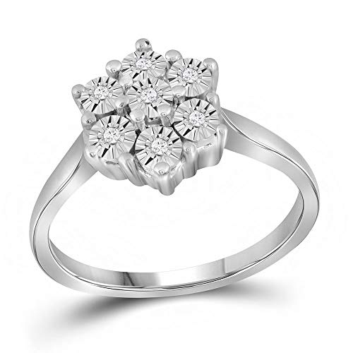 Jewels By Lux Sterling Silver Womens Round Diamond Illusion-Set Flower Cluster Ring 1/10 Cttw Ring Size 6
