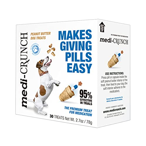 Medi-Crunch - Dog Pill Pouch Treats for use with Pills, Capsules, Tablets or Other Medications and Supplements (30 Dog Pill Treats) Makes Giving Pills Easy! No Mess, No Stress!